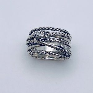 David Yurman Crossover Double X Ring with Diamonds